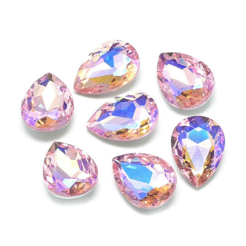 50pcs Pointed Back Glass Drop Cabochons Faceted AB Color Rhinestone Pink 18x13mm