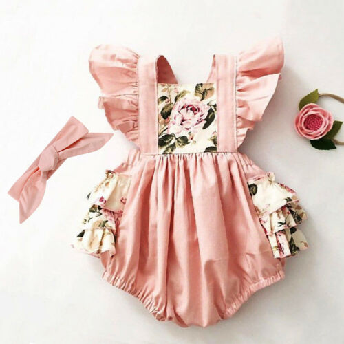 US Newborn Kids Baby Girl Floral Romper Jumpsuit Bodysuit Cl