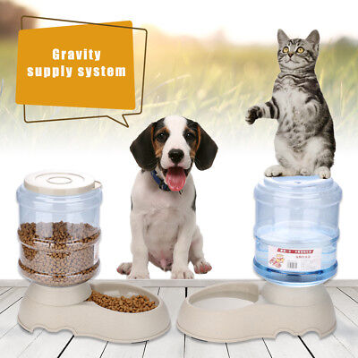 Automatic Pet Food Drink Dispenser Dog Cat Feeder Water Bowl Dish Large Combo US