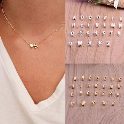Women Charm Pendant Necklace Cute 26 Initial Letter Heart Chain Alphabet Initial Heart Charm Letter