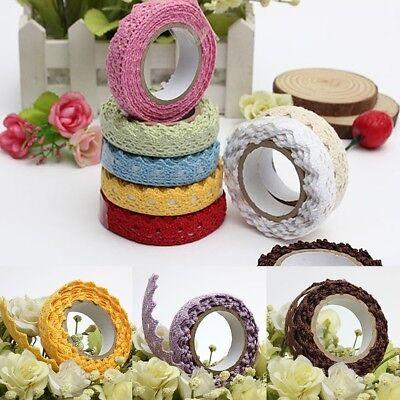 Fabric Lace Roll DIY Washi Decorative Sticky Ribbon Masking Tape Self -