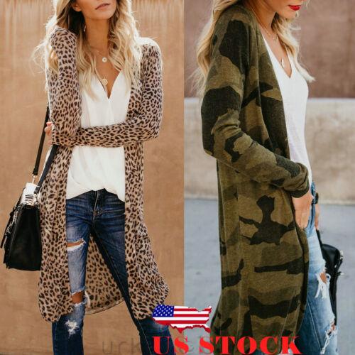 US Women Loose Long Sleeve Cardigan Leopard Kimono Shawl Top