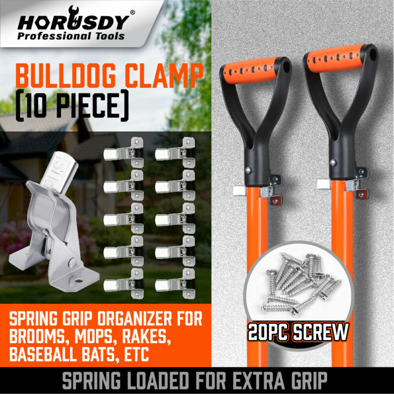 Garden Tool Organizer 10 Pack Shovel Holder Wall Mount Broom Mop Spring Grip H-D