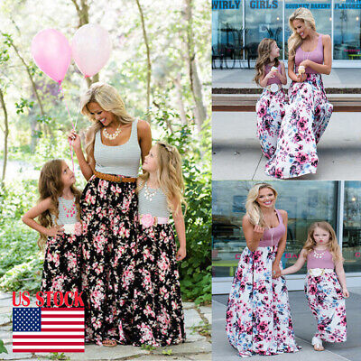 USA Mommy and Me Family Matching Dress Mother Daughter Floral Holiday Maxi Dress - Family Dress