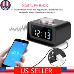 LCD Alarm Clock Radio - FM Radio,Dual USB Charging Ports,Temperature,Speaker