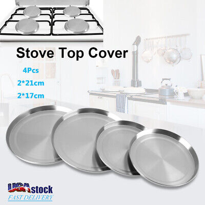 Set of 4 Stainless Steel Kitchen Stove Top Burner Covers Round Cooker - Steel Burner Cover Set