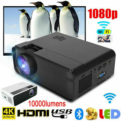 W10 LCD Projector LED 1080P Home Theater 6000 Lumens with HD VGA USB Wifi V6Q0