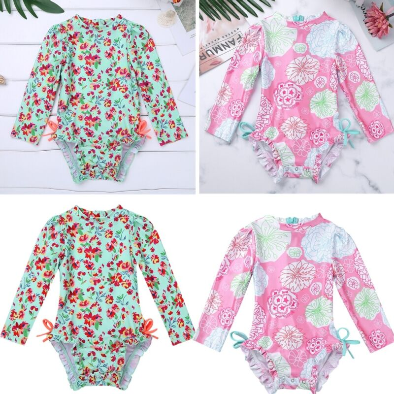 US UPF50+ Rash Guard Shirt Swimsuit Baby Girl Bathing Swimwe