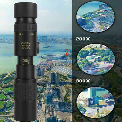 4K 10-300X40mm Super Telephoto Zoom Monocular Telescope W/ Tripod & Phone Clip
