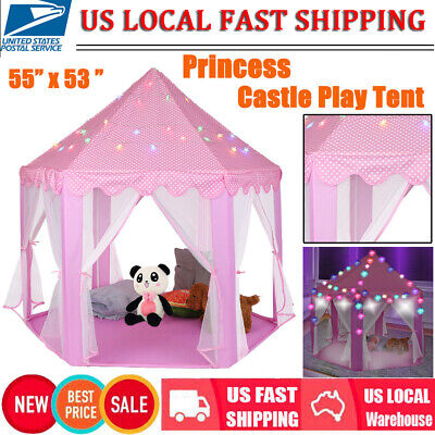 Princess Castle Play House Large In/Outdoor Kids Play Tent & 6M Light for Girls