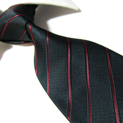 Black Polyester Extra Long Ties - Extra Long Microfibre Necktie Black/Red Striped Woven Polyester XL Men's Tie 63
