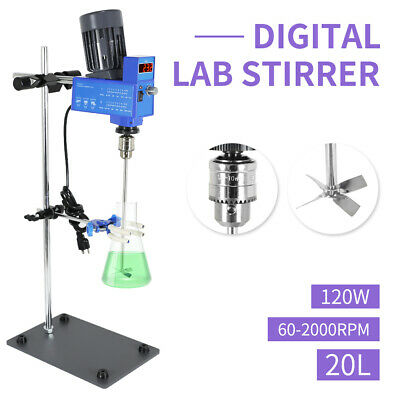 Digital Powerful Overhead Lab Stirrer Industrial Liquid Mixer 2000rpm 20l 120w