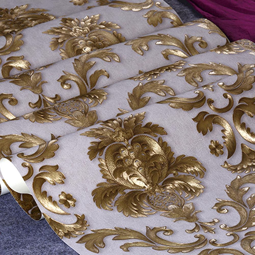 Home Design 3d Gold: 33ft PVC Luxury 3D Gold Metallic Textured Damask Wallpaper