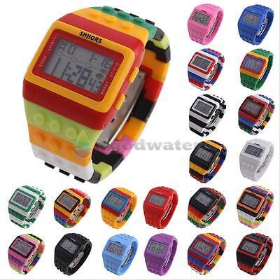Man Plastic Sports Style Watch (Sport Colorful Block Brick Style Digital LED Women Men Children Wrist Watch Gift )