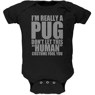 Pug Halloween Costume For Baby (Halloween Human Pug Costume Black Soft Baby One)
