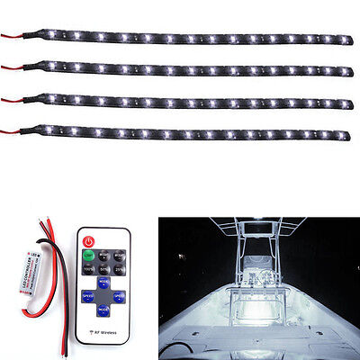 Boat and Wireless Remote Control Motorcycle White LED Light Strip Kit DC12V 4pcs