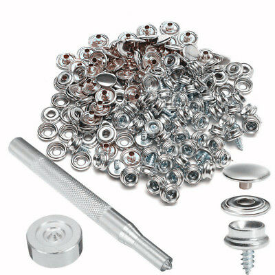 153Pcs 3 8 Stainless Steel Snap Fastener Buttons Sockets Screw Studs Tool Usa