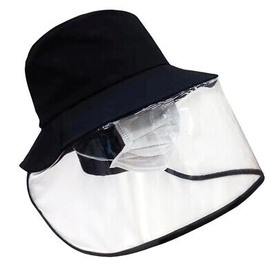 Fisherman Cap With Protective Clear Mask Saliva-proof Dust-proof Sun Visor Hat ^