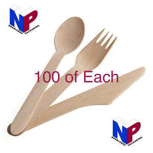 100 of Each, Wooden forks, Knives and Dessert Spoons! Eco! Cutlery! Catering!