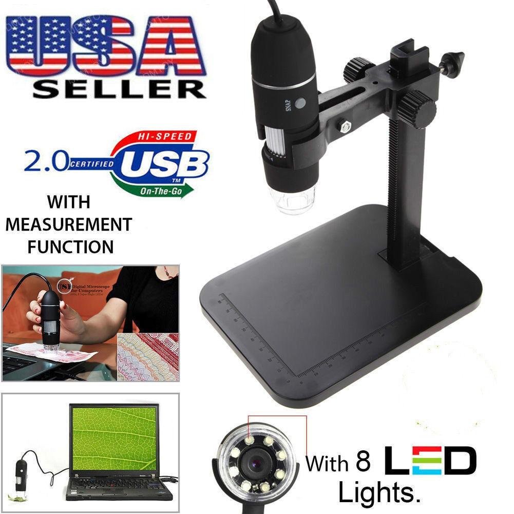 USB Digital Microscope Endoscope 1000X 2MP 8LED Magnifier Ca