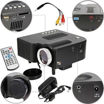 HD 1080P LED Multimedia Projector Home Theater Cinema AV TV VGA HDMI USB SD XI