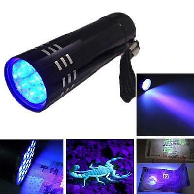 Mini Aluminum UV Ultra Violet 9 LED Flashlight Blacklight Torch Light Lamp #A UK