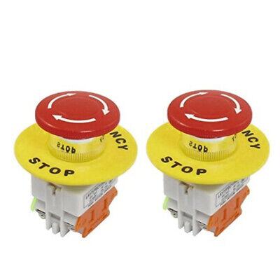 2pcs 22mm Stop Switch Latching Emergency Control No Nc Red Mushroom Push Button