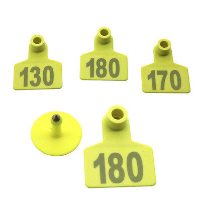 No.001-100 Yellow Livestock Ear Tag Poultry Markers Pig Goat Sheep Label Plastic