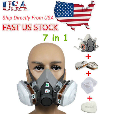 For 3m 6200 N95 Dust Gas Half Face Mask Respirator Painting Spraying Safety Us
