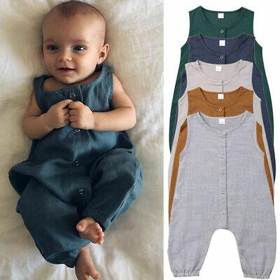 Newborn Baby Boy Girl Cotton Bodysuit Romper Jumpsuit Clothes Outfits Sunsuit UK