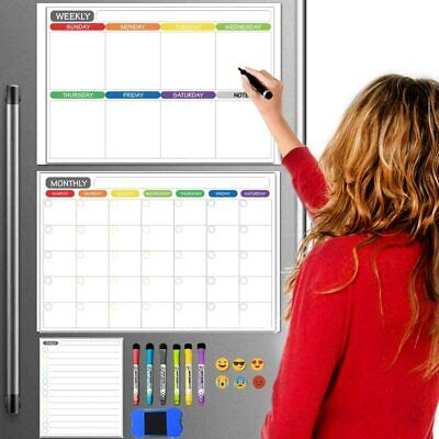 3pcs Dry Erase Calendar Whiteboard Magnetic Refrigerator Organize Family Notepad