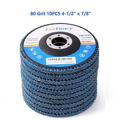 "80 Grit 4-1/2 "" x 7/8"" Zirconia Angle Grinder Flap Disc Abrasive Sanding Wheel"
