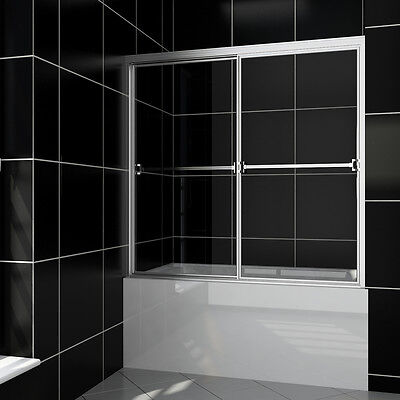 "Clear SHOWER Bypass Sliding Bathtub Glass Doors 60"" Full Framed Clear Glass"