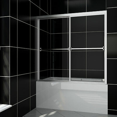 "Smiling SHOWER Bypass Sliding Bathtub Glass Doors 60"" Full Framed Unblock Glass"