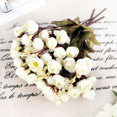 15Heads Artificial Rose Silk Flowers White Camellia Peony Bouquet Room Decor Wor