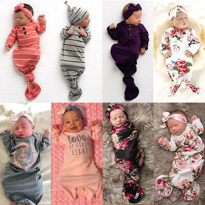 Baby Sleeping Bags Newborn Infant Blanket Swaddle Wrap Long Sleeve Gowns - Swaddle Outfit