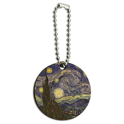Starry Night Vincent Van Gogh Wood Wooden Round Key Chain