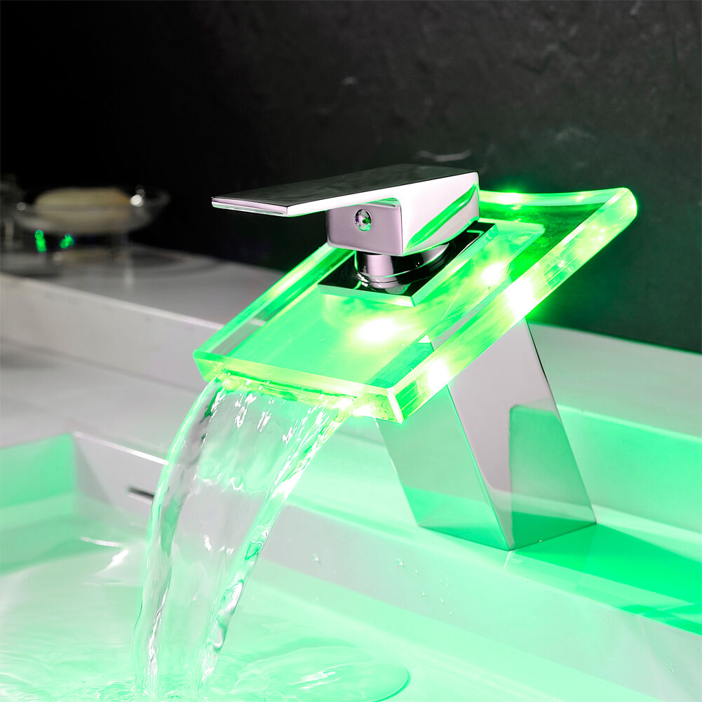led rgb wasserfall wasserhahn waschbecken waschtisch. Black Bedroom Furniture Sets. Home Design Ideas