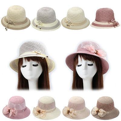 Magik Women Lady Summer Breathable Sun Braided Trim Straw Bowler Cap Cloche (Womans Cloche Hat)