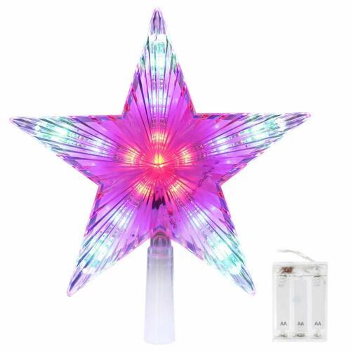 CrazyFire Star Tree Topper 9.8 Inch Christmas Treetop Decoration Light Multi-Col