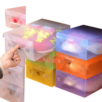 Home Plastic Clear Shoes Boots Box Foldable Stackable Tidy Box Storage Organizer (Clear Box)