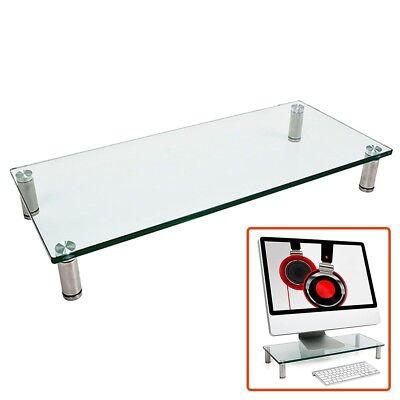 Glass Monitor Laptop Stand Display Riser Desk Table Top Shelf PC TV Home Audio (Top Monitor Shelf)