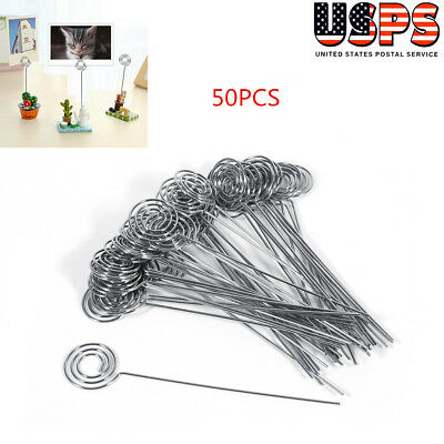 New 50Pcs DIY Craft Metal Wires Name Photo Card Memo Paper Note Clip - Wire Card Holder