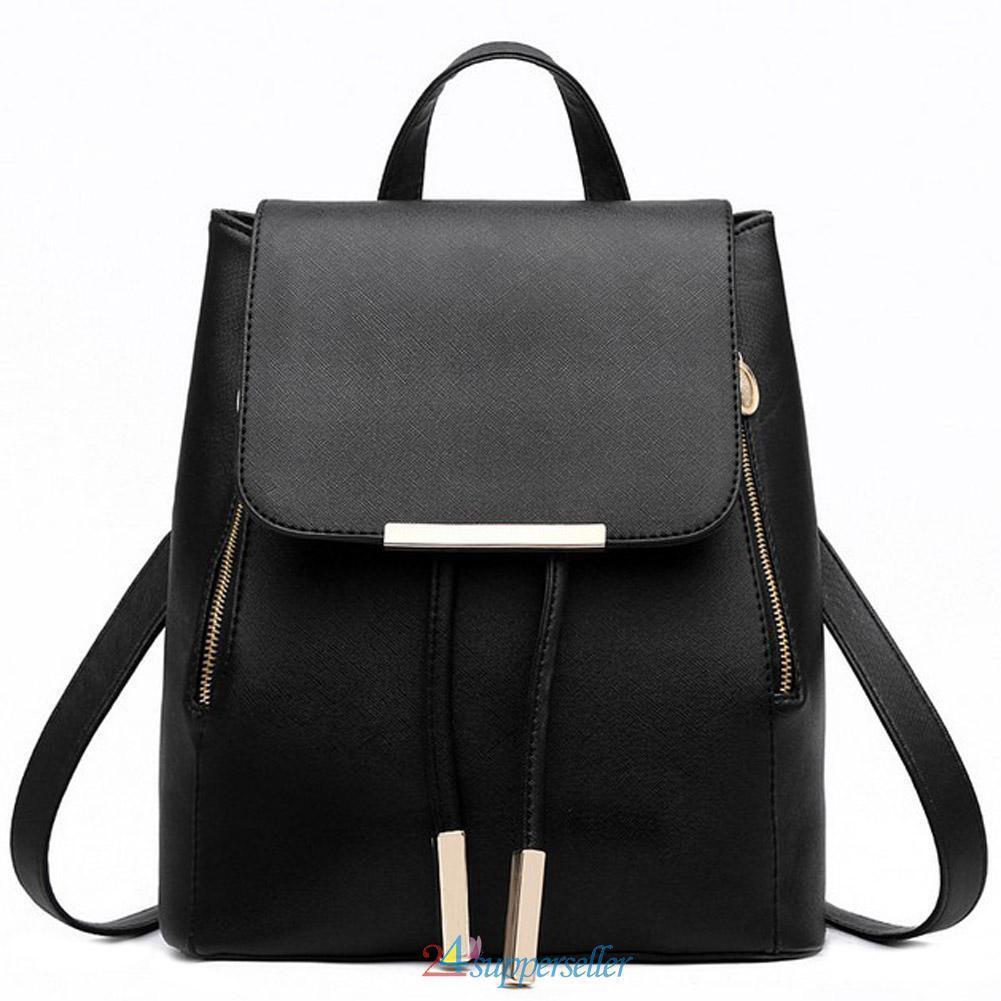 Fashion Girls Women Leather Satchel Backpack Travel Rucksack