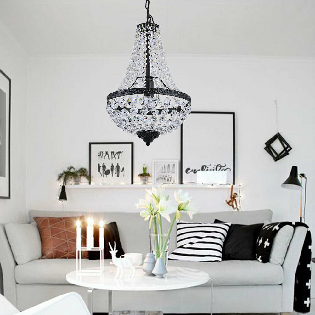 """18""""Modern Black Crystal Pendant Light Chandelier Lamp E26 French Empire Decor"""