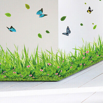 Home Decoration - Green Grass Butterfly-Flowers Baseboard PVC Wall Sticker Living Room Home Decor