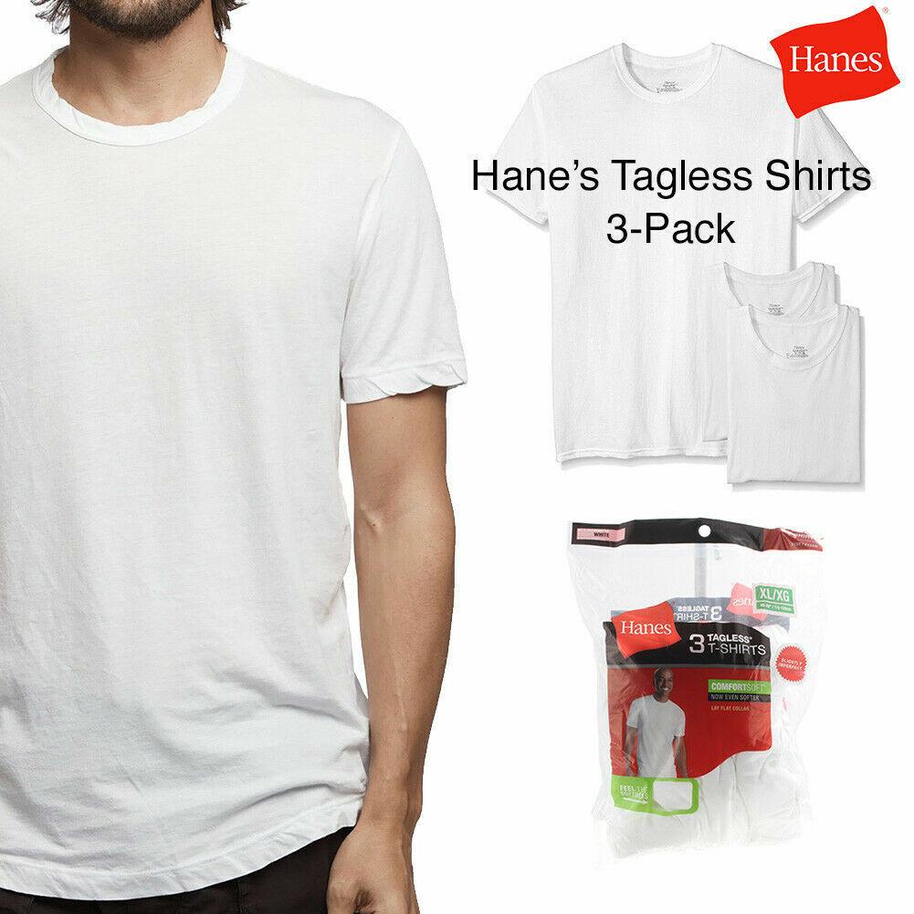 M,L,XL,NEW Hanes Premium Men/'s  3-Pack TAGLESS Crew WHITE T-shirt S