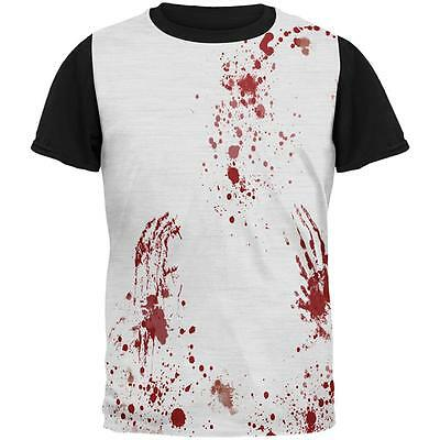 Halloween Blood Splatter All Over Mens Black Back T Shirt