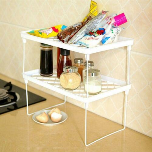 Stackable Kitchen Folding Storage Rack Shelf Bathroom Holder