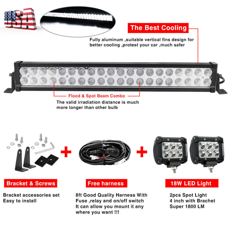 "24inch LED Light Bar Spot Flood Combo + 2x 4"" Pods For Jeep"